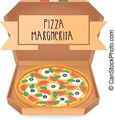 The real Pizza Margherita. Italian pizza in box.