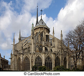 The rear view of the Notre Dame Cathedral, Paris, France