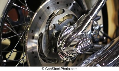 the rear wheel of a motorcycle