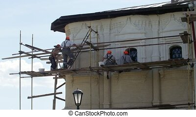 The reconstruction of orthodox church in Russia at sunny...