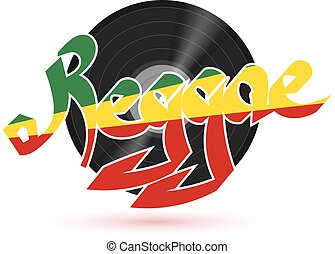 The record reggae music. Musical plastic plate with the word REGGAE on a white background with shadow. REGGAE Illustration. Stock vector