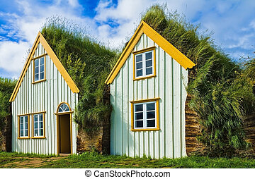 The recreated village - museum of first settlers in Iceland....