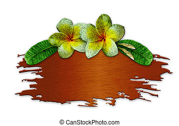 The recycled wooden sign with flowers on white background