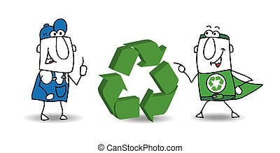 The recycling sign - The super ecology warrior and a worker ...