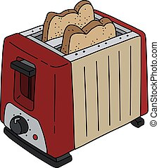 The red and beige electric toaster