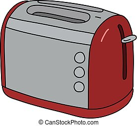 The red and steel electric toaster