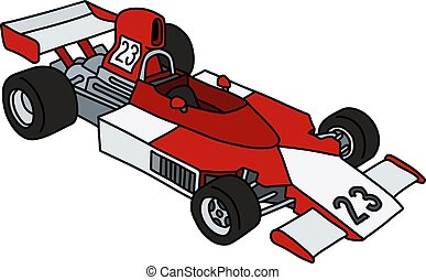 The red and white racecar - The vectorized hand drawing of a...