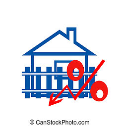 The red badge of interest on the background of houses . The...