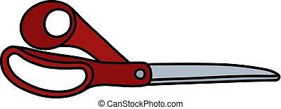 The red big scissors