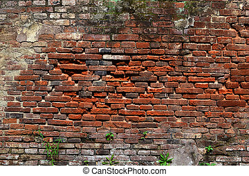 The red brick wall that has begun to decay