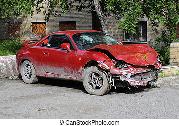 The red broken car after accident.