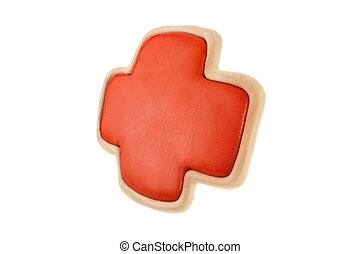 The Red Cross of plasticine on a white background