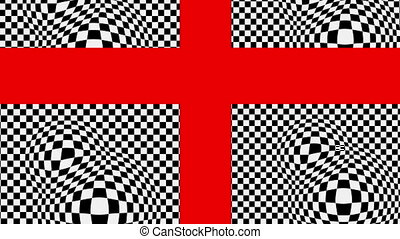 The red cross on the black and white basis