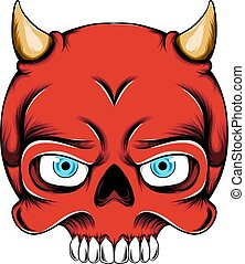 The illustration of the red devil skull head with the little horn out from the head