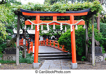 The red door in the Japan temple.