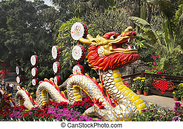 The red dragon and bright flowers