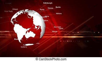 Red background of the earth's rotation; The capital of the world's major countries;