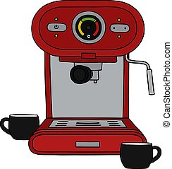 The red electric espresso maker