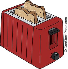 The red electric toaster