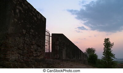 The red gate of the fortress - A hand held, tilting, medium...