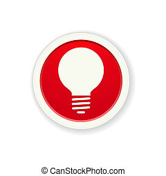 the red glossy circle button with bulb pictogram
