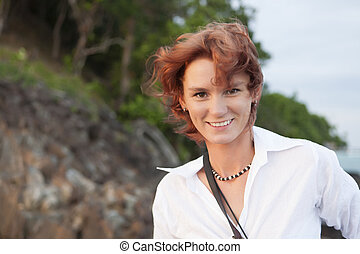 red-haired girl - The red-haired girl in desert island