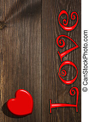 The red heart and the inscription