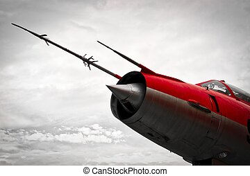 The Red Jetfighter - The nose of a vintage red jetfighter...