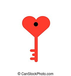 The red key to the heart on a white background