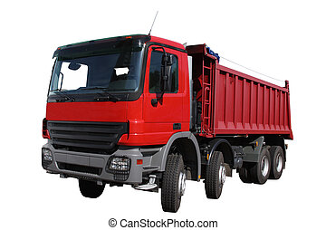 The red lorry separately on a white background