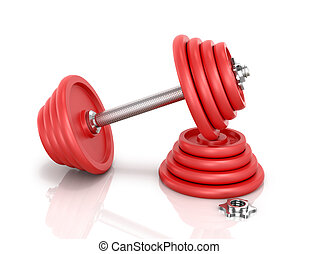 The red metal dumbbell with pancake and clamp dumbbells isolated on white background.3D illustration