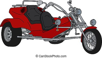 The red motor tricycle - The hand drawing of a red heavy...