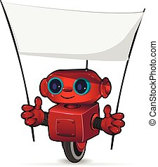 The red robot with a poster