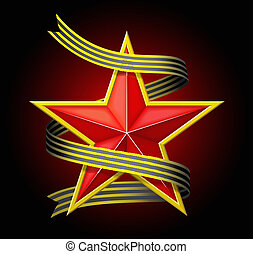 The red star with a ribbon.