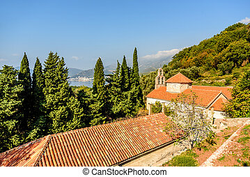 The red tile roof of the Holy Trinity Church  Praskvica Monastery, Montenegro