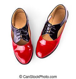 red women shoes with shoelaces on white background