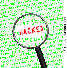 "The red word ""HACKED"" revealed revealed in green computer machine code through a magnifying glass. White background."