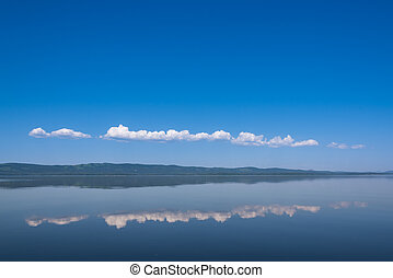 The reflection of the sky on lake