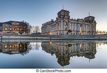The Reichstag at the river Spree in Berlin