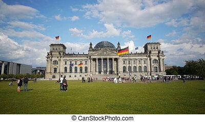 The Reichstag, Berlin, Germany, 4k UHD timelapse - BERLIN -...