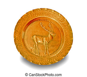 The Relief carving brass of reindeer isolated on white background
