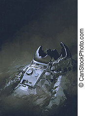 remains of the astronaut in dark background - the remains of...