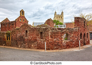 The remains St Catherine's Chapel and Almshouses. Exeter....