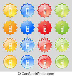 the remote control icon sign. Big set of 16 colorful modern buttons for your design.