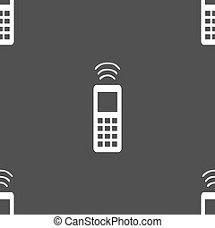 the remote control icon sign. Seamless pattern on a gray background. Vector