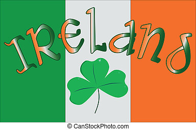 The Republic of Ireland flag with the text IRELAND and a lucky shamrock, a symbol of the Irish people.