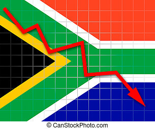 The Republic of South Africa flag and arrow graph going down