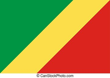 The Republic of the Congo national flag. Vector illustration. Brazzaville