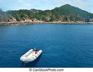 The Rescue boats on sea at Ko Tao, Chumporn Thailand