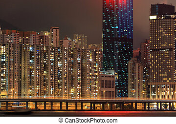 The residential buildings at Hong Kong in night